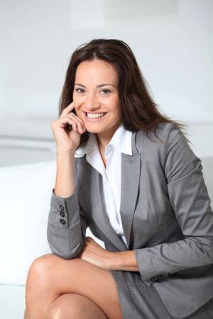 suit skirt: Beautiful smiling businesswoman  Stock Photo