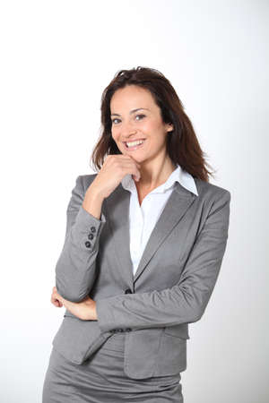 woman 40 years: Smiling businesswoman on white background