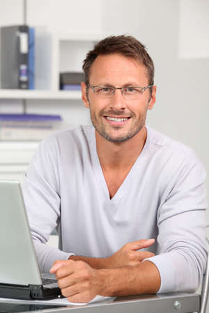 web plan: Portrait of handsome man wearing eyeglasses