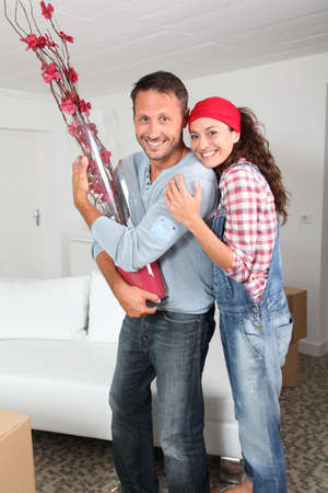 Couple moving in their new house photo