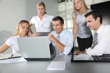 Group of business people meeting in the office Stock Photo - 8087349