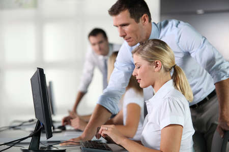 35 years old man: Business people working on computer Stock Photo