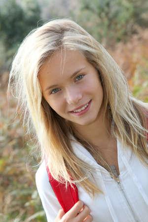 두서없는: Closeup of beautiful young girl on hiking day 스톡 사진