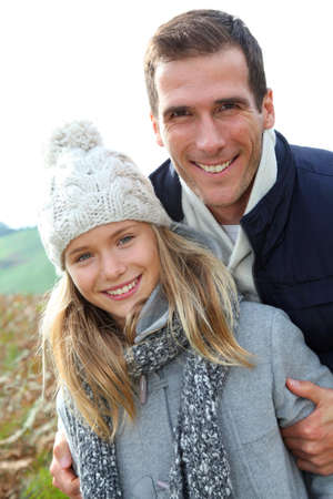 rambling: Happy father with daughter in fall season
