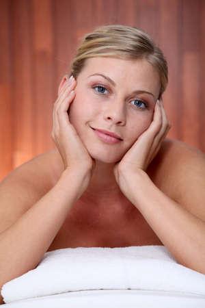 Closeup of beautiful woman on massage bed Stock Photo - 8124467