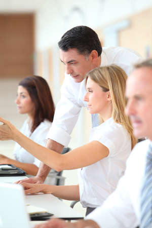 apprenticeship employee: Business training in modern offices