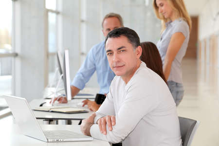 Businessman in work meeting photo