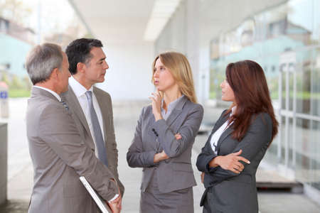 career fair: Business people meeting at an exhibition