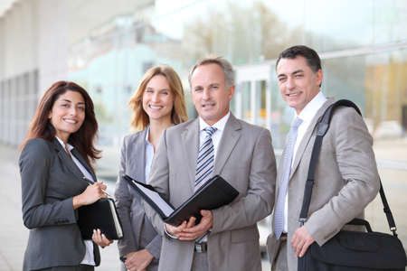 corporate travel: Business people meeting at an exhibition