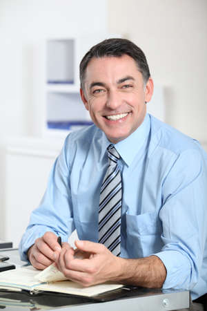 Closeup of smiling businessman