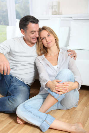 men 45 years: Closeup of happy couple at home Stock Photo