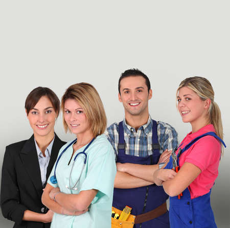 Group of young professional people on white background photo
