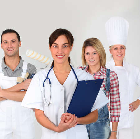Group of young adults on business training Stock Photo - 8360655
