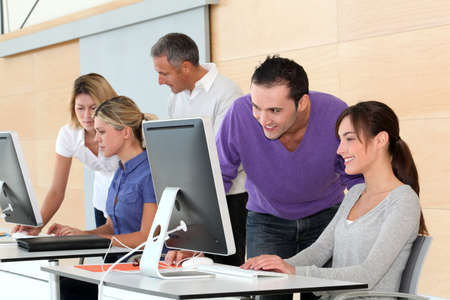 workers group: Office workers on business training
