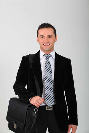 Closeup of young smiling salesman Stock Photo - 8358877