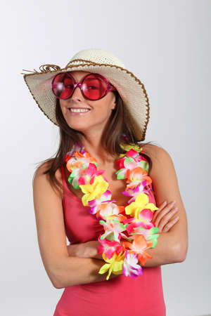 Woman with hawaiian outfit photo