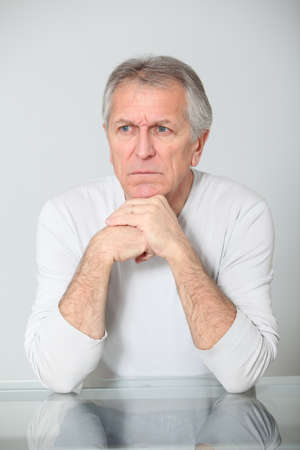 preoccupied: Senior man with concerned look