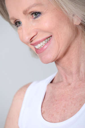 dentalcare: Closeup of senior woman with beautiful smile