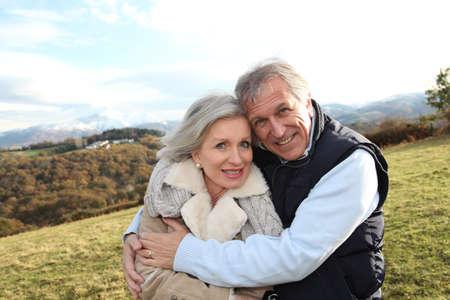 Portrait of happy senior couple in countryside Stock Photo - 8401858
