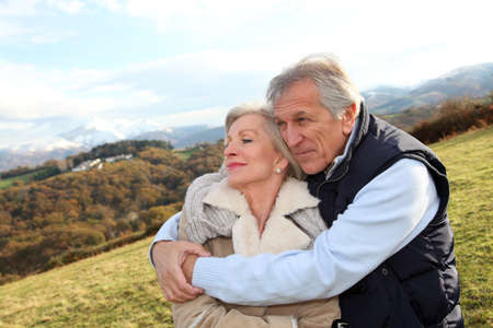 Portrait of happy senior couple in countryside Stock Photo - 8400973