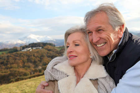 Portrait of happy senior couple in countryside Stock Photo - 8400959