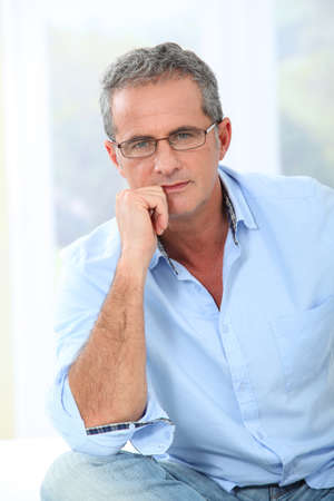 men 45 years: Portrait of handsome man with eyeglasses