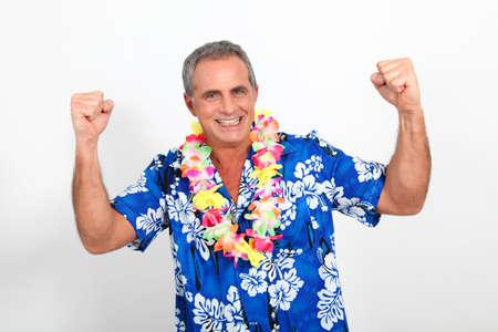 men 45 years: Happy man with hawaiian shirt Stock Photo