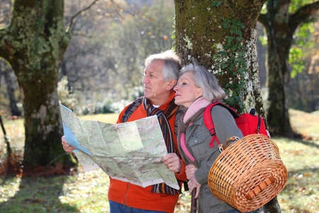 portrait orientation: Senior couple with map on a hiking day