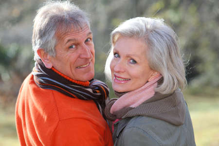 healthy seniors: Portrait of senior couple in countryside