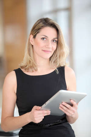 android tablet: Businesswoman using electronic tab Stock Photo