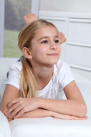 pretty blonde girl: Portrait of 10-year-old blond girl Stock Photo
