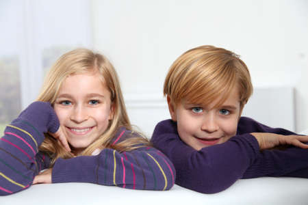 Portrait of little boy and girl  photo