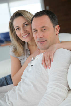 couple home: Portrait of in loved couple