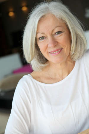 senior home: Closeup of senior woman relaxing at home