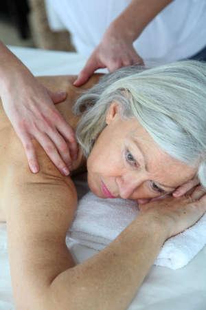 Senior woman having a massage Stock Photo - 8742523