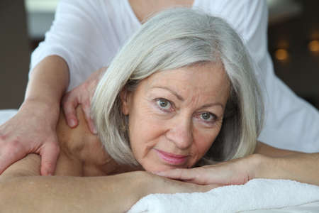 Senior woman having a massage Stock Photo - 9031967