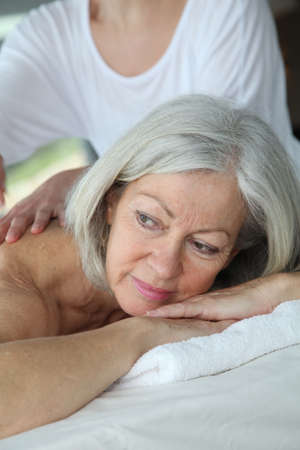 Senior woman having a massage Stock Photo - 9031778