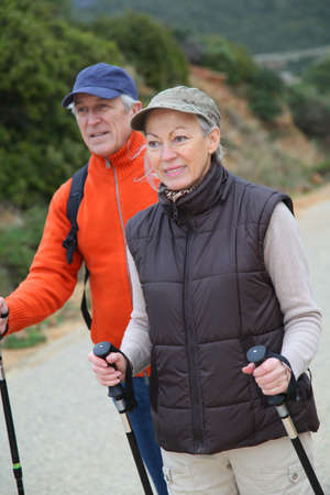 Senior couple on a walking day photo