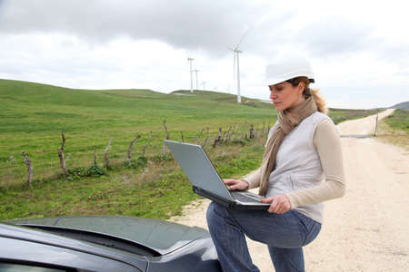 Engineer in wind turbines field using electronic tablet Stock Photo - 9161153