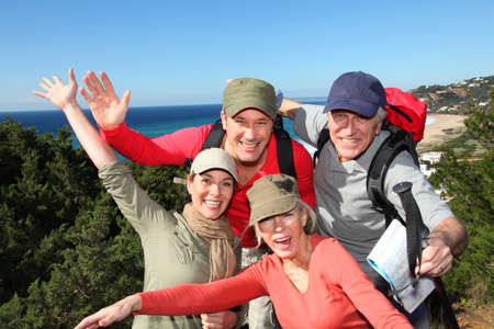 hikers: Portrait of happy group of hikers Stock Photo