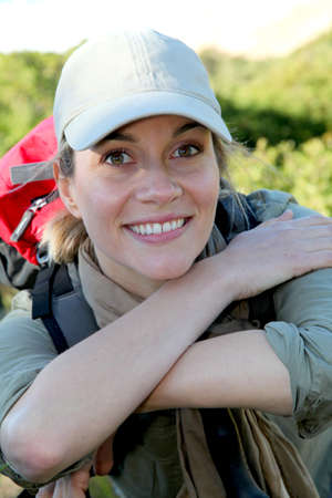 Portrait of smiling woman on hiking day photo