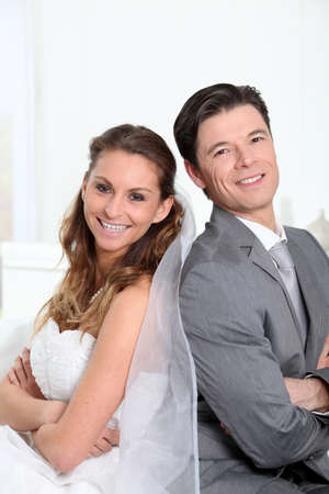 wedding gawn: Portrait of happy bride and groom Stock Photo