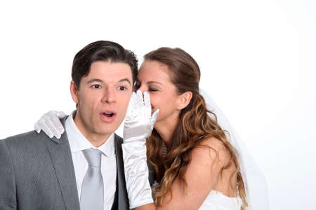 wedding gawn: Married couple expressions on white background