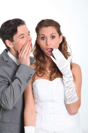 Married couple expressions on white background