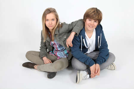 Portrait of teenagers on white background photo