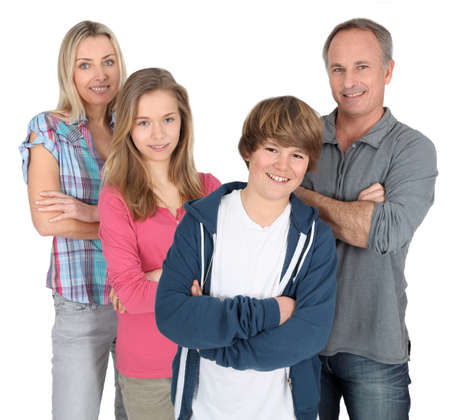 youth group: Family portrait standing on white background