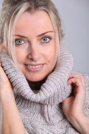 turtleneck: Beautiful woman wearing turtleneck sweater