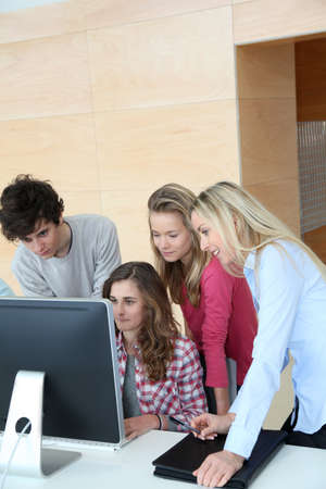 traineeship: Group of students attending training course at school
