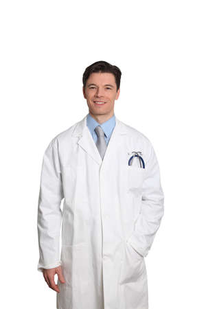 medicalcare: Doctor standing on white background Stock Photo