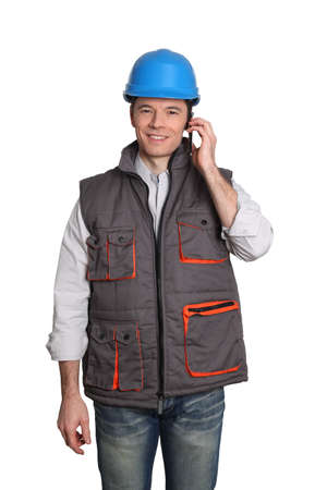 Foreman standing on white background photo